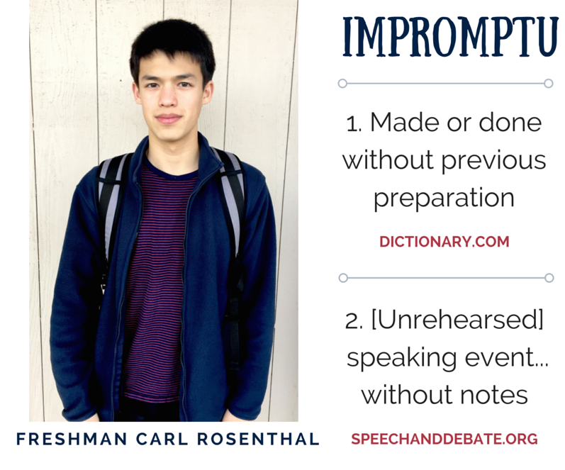 Impromptu: Speech and Debate's unrehearsed event