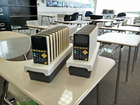20 new TI-84 Pluses on their docks, ready for use