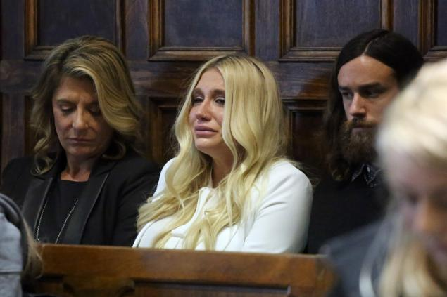 Kesha's reaction after the Supreme Court Ruling. Supreme Court Justice Shirley Kornreich dismisses Kesha's injunction on the grounds it did not have enough evidence.  Source: Jefferson Siegel/Pool — AP