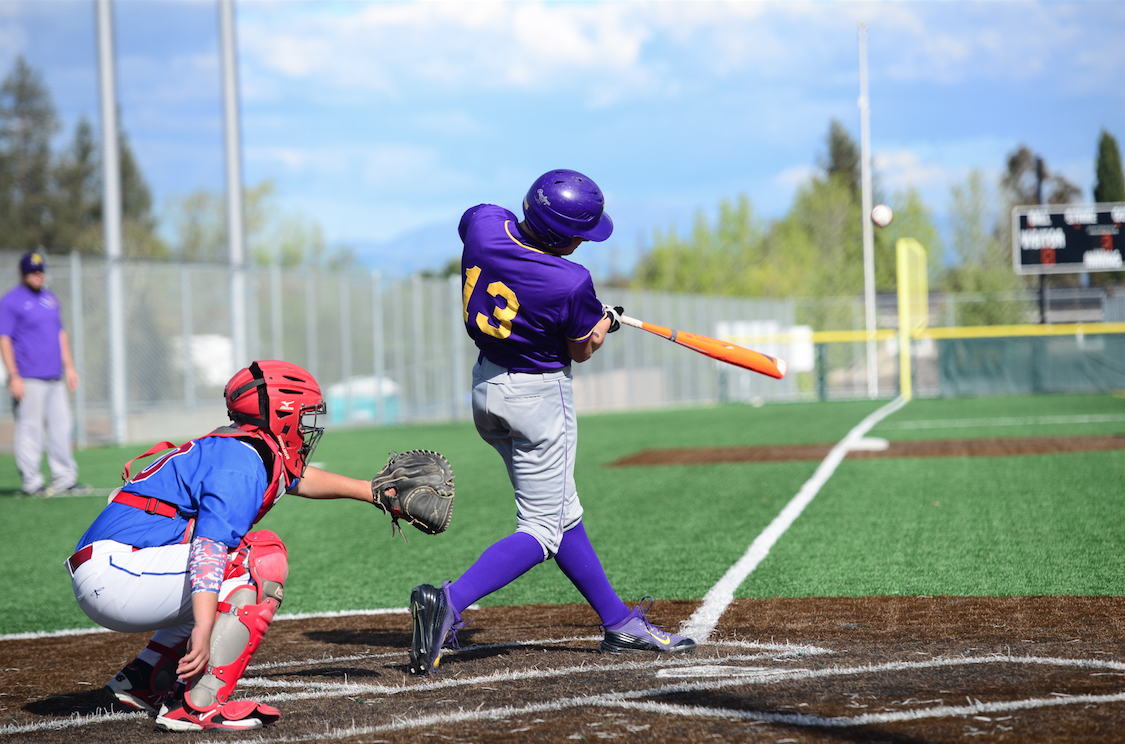 Senior Ryan Granzella connects on a pitch against Independence HS on March 29. The Matadors were hot for much of game, as they finished the game with six runs. Photo by Pranav Iyer.