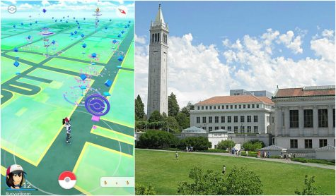 "Senior Ruoyun Zheng played Pokémon Go in between breaks at her internship at Berkeley. Berkeley's Sather Tower is a poke stop many players frequent. First photo used with permission by Ruoyun Zheng. ""Creative commons UC Berkeley Tower"" John Loo"