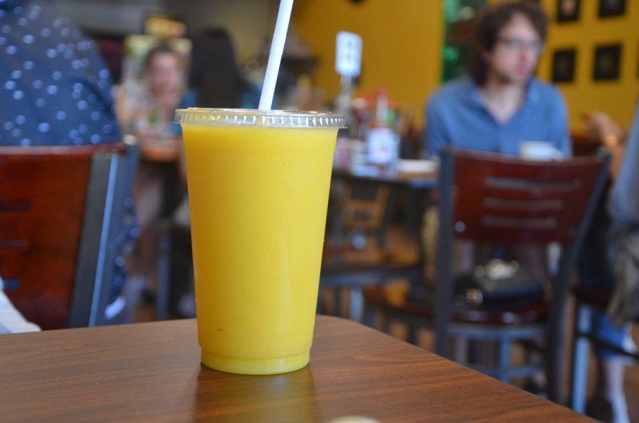 A blend of mango, pineapple, mango sorbet and mango juice.