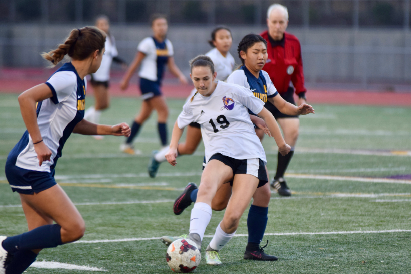 Freshman Claire Ettinger passes the ball to a teammate during a game against Milpitas HS.