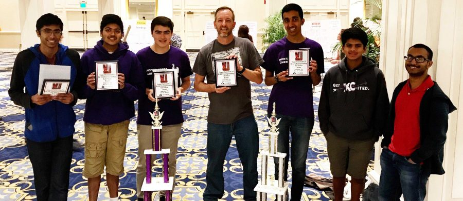MVHS Chess Club won the U.S. Chess Federation National Championship by half a point in Nashville, Tenn. The team poses triumphantly with Math teacher and advisor of the club Colin Anderson. Photo used with permission of senior Kesav Viswanadha.