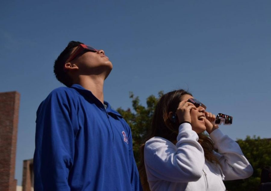 Students taking advantage of the opportunity to view the solar eclipse during class.