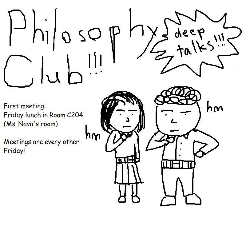 Senior and President of Philosophy club Nicholas Chen throws a string of thoughtful questions in his promotion for MV Philosophy club. Chen drew the picture himself on Microsoft Paint. Photo used with permission of Nicholas Chen.