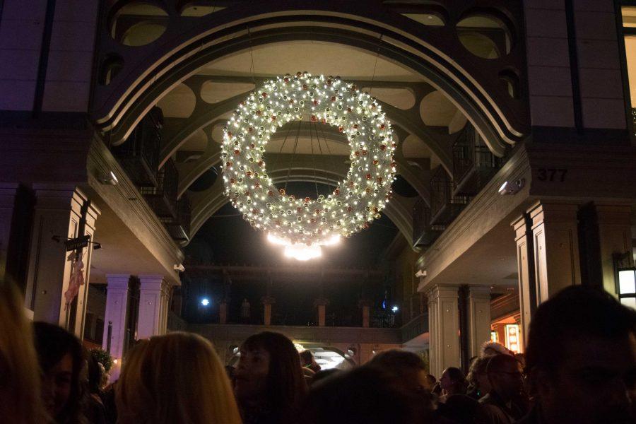 Christmas tree lighting at Santana Row