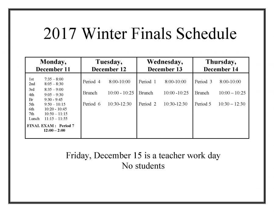 New finals schedule