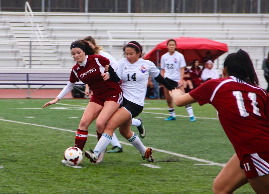 Girls+soccer%3A+Team+easily+wins+over+Cupertino+HS+despite+the+weather+conditions