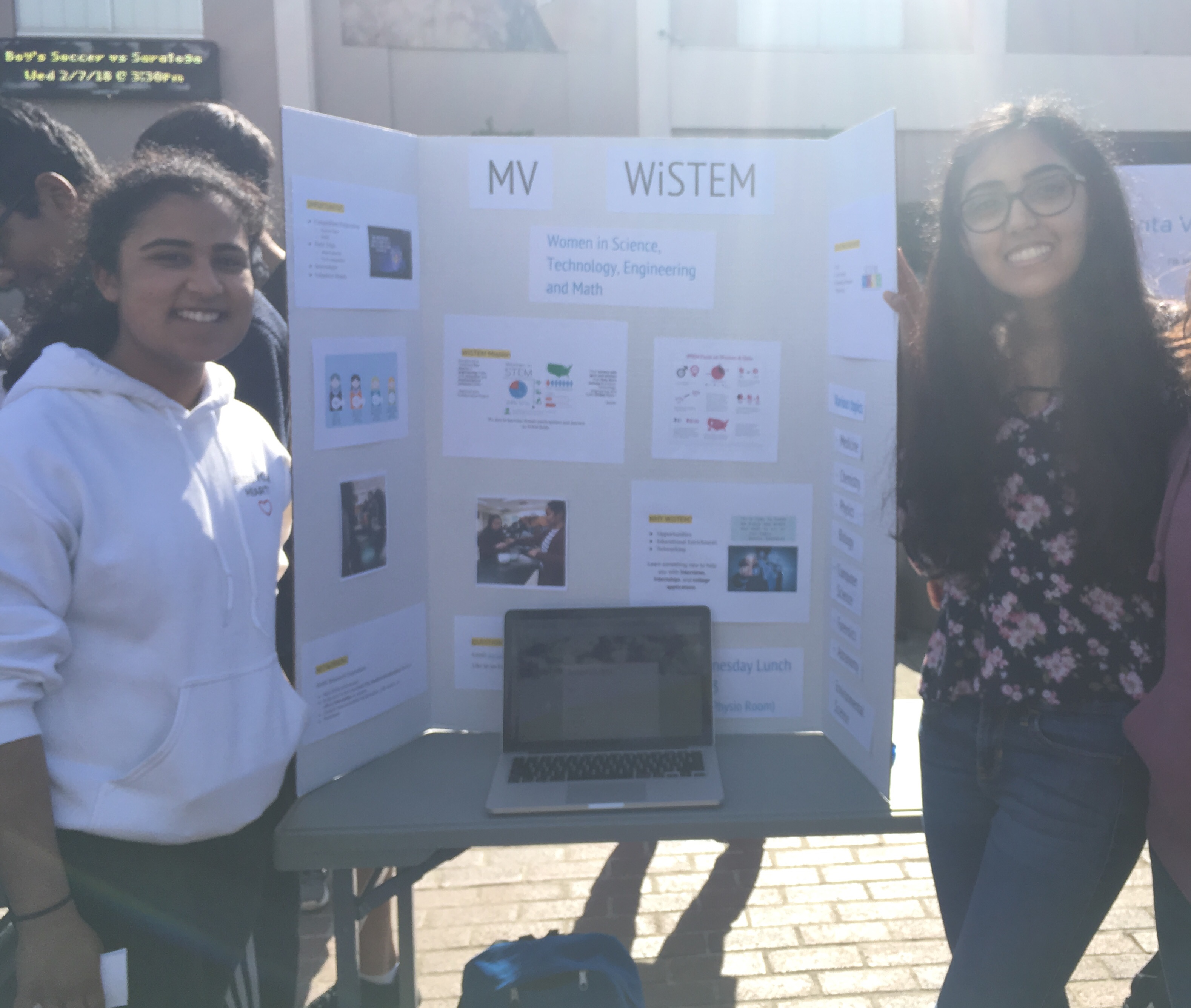 Seniors president Rakhi Banerjee and vice president Kriti Lalwani promote WiSTEM on club information day. They answered questions incoming club members had and encouraged them to sign up.