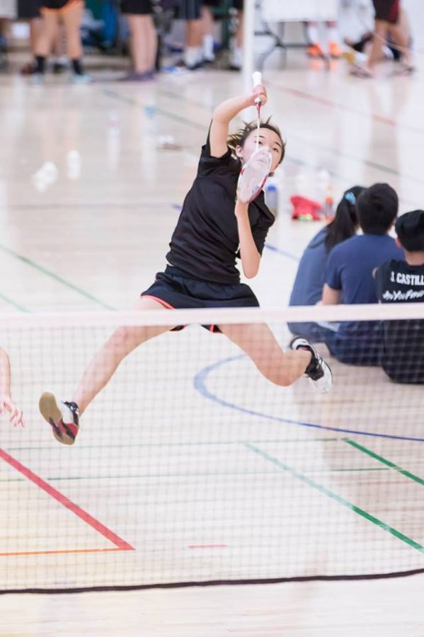 Junior+Karina+Wang+plays+in+the+San+Jose+State+Uni+Smash-Offs+in+the+summer+of+2017.+Wang+is+now+the+vice+president+of+MVHS+Badminton+club+and+is+working+to+improve+the+skills+of+other+members+on+the+team.++