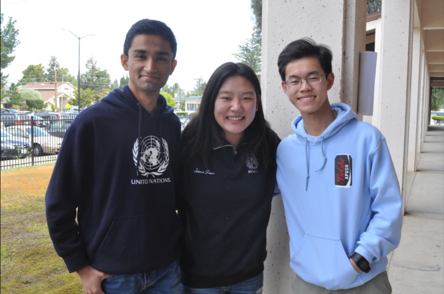 From left to right, Chandramouly, Tian and Wang stand as MUN's new executive officer team. Each of these officers was previously involved as a non-executive officer during the 2017-2018 MUN year. Photo by Maggie McCormick.