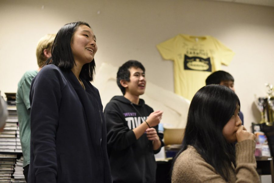 Junior Hannah Cho smiles as she sings her favorite Japanese songs.