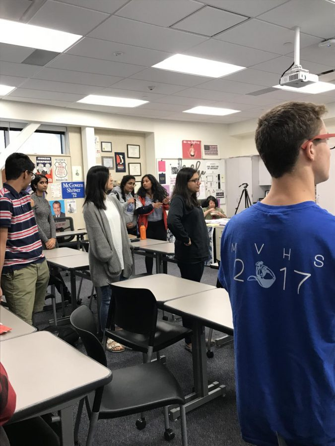 GEP members all stand on the right side of the classroom to signify that they believe that feminism is important at MVHS. Photo by Swara Tewari.