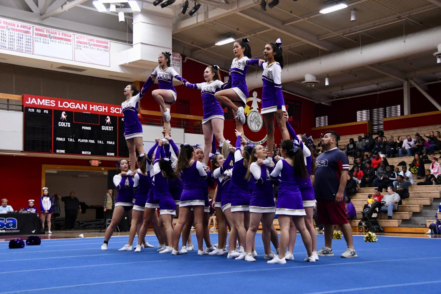 Without a coach, the MVHS cheer team may not qualify for the National High School Cheerleading Competition, an event they've attended the past few years. Photo by Roshan Fernandez.