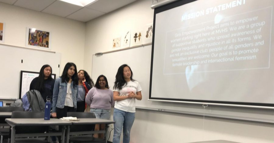 GEP officer team presents the club's mission statement at the club's interest meeting. Photo by Swara Tewari.