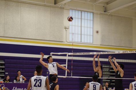 Junior Charlie Yi prepares to spike the ball against CHS. The Matadors won their 22nd game in a row.