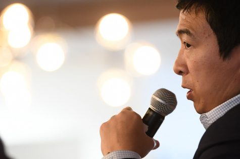 30 April 2018; Andrew Yang during Ecosystem Summit prior to the start of Collision 2018 at Launch Pad in New Orleans. Photo by Stephen McCarthy/Collision via Sportsfile