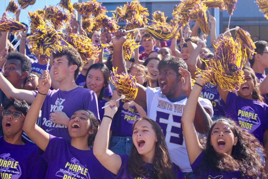 "The senior class screams the response to the ""Monta Vista, How Do You Feel?"" cheer at the beginning of the rally. Photo by Shreshta Ranganathan"