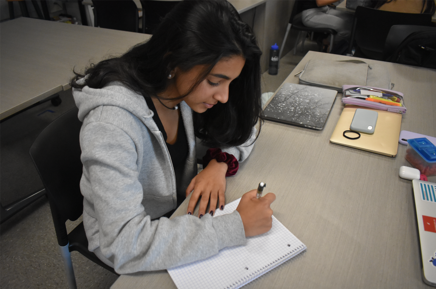 Neysa Singh works on her math homework. Photo by Lakshanyaa Ganesh