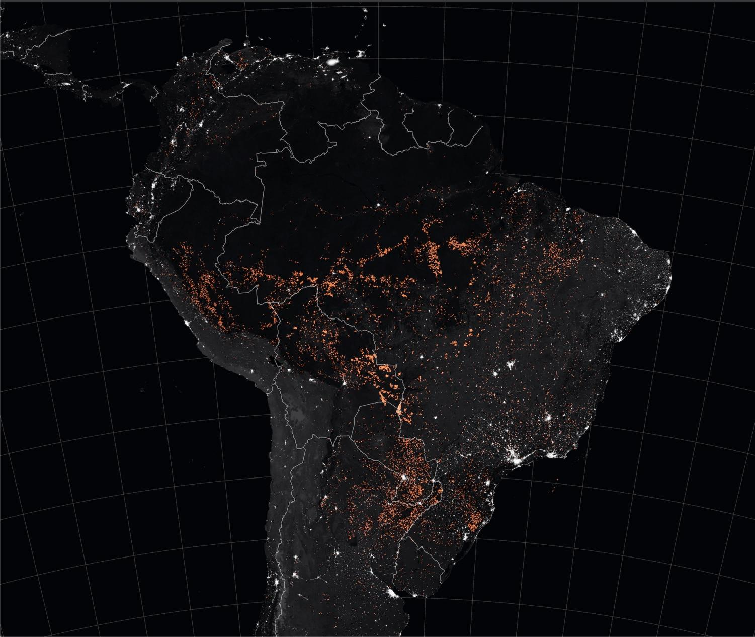 A NASA Earth Observatory image taken in August 2019 that captures the Amazon rainforest's burning fires. Photo Credit: NASA Earth Observatory images by Joshua Stevens, using MODIS data from NASA EOSDIS/LANCE and GIBS/Worldview, Fire Information for Resource Management System (FIRMS) data from NASA EOSDIS, and data from the Global Fire Emissions Database (GFED)
