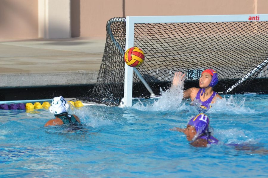 MVHS defenders try to prevent a goal before it can reach the goalkeeper