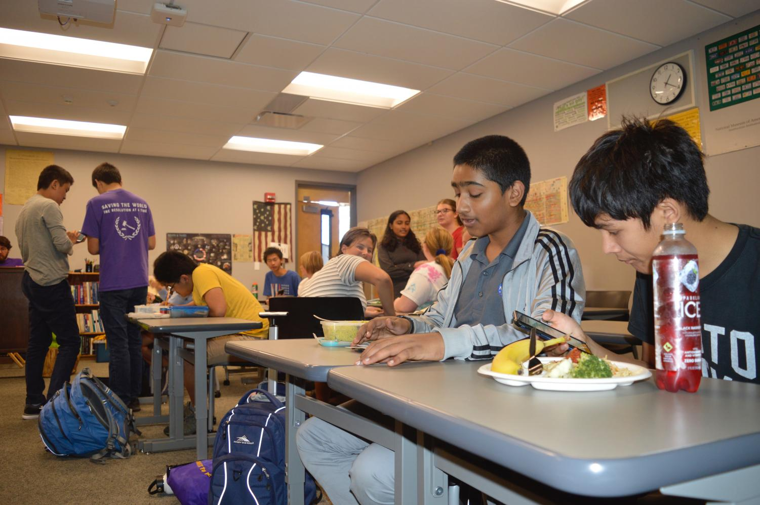 Members of Dungeons and Dragons Club create characters and socialize during a lunch meeting.