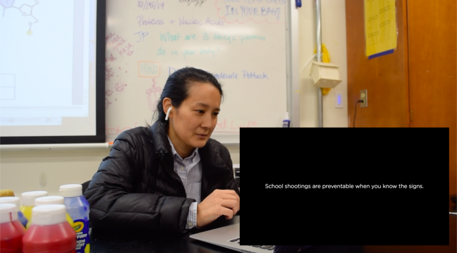 Biology teacher Pamela Chow reacts to Sandy Hook Promise's school supply ad. Photo by Andie Liu // El Estoque