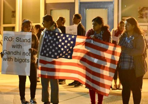 Protesters demonstrate outside Representative Ro Khanna's town hall meeting