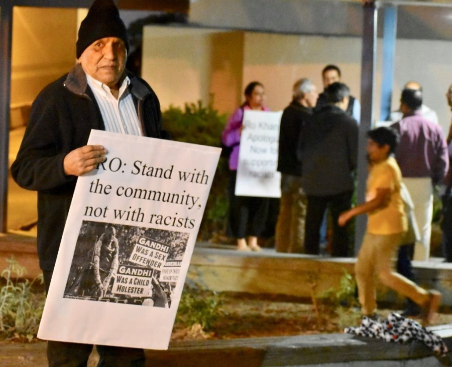 Protesters also disagreed with Khanna's membership in the Pakistani Caucus.