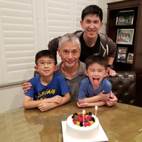 Wong poses for photo with his father and two sons for a birthday celebration. Photo used with permission of Alan Wong.