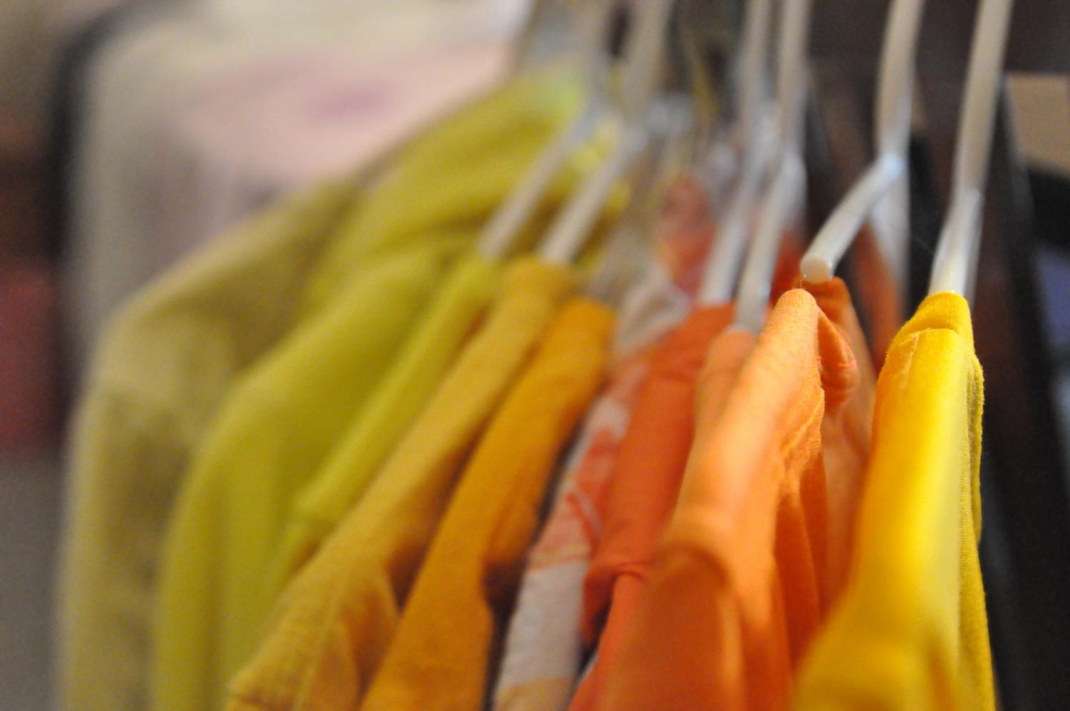My entire collection of orange and yellow T-shirts, jackets and flannels.