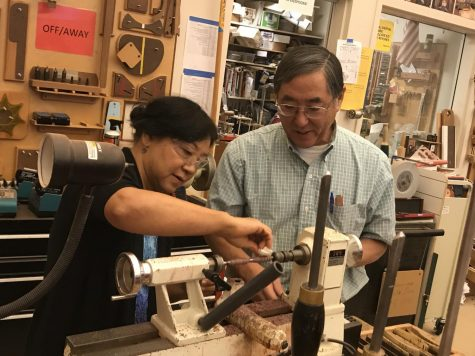 Industrial technology teacher Ted Shinta opened the woodshop for staff members to make pens.