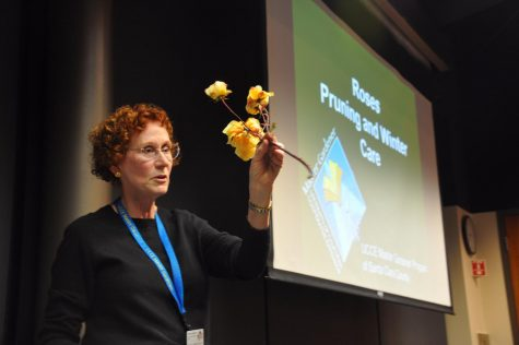 Speaker Paula Larkin-Hutton holds up a rose stem while she describes the different parts of the rose and answers questions from the audience.