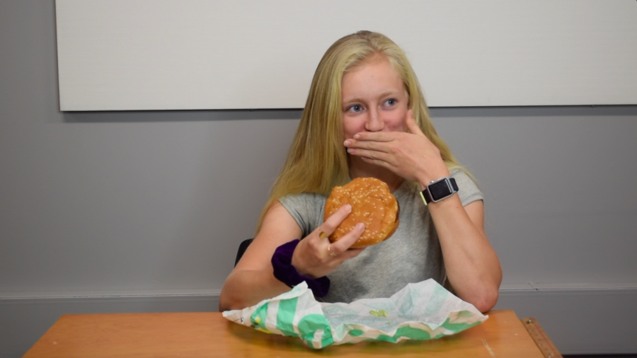 Junior Sylvana Northrop reacts to the impossible burger.