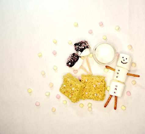 A picture of the four marshmallow creations mentioned in the story: rice krispies, marshmallow pops, marshmallow men, and a marshmallow based face mask.