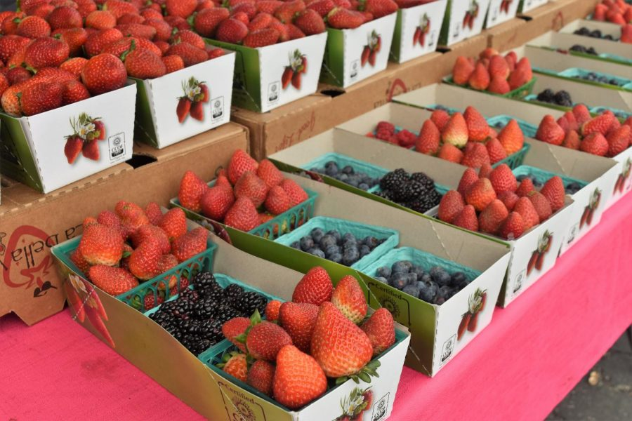 Kem+Farms+displays+their+selection+of+strawberries%2C+raspberries+and+blueberries%2C+selling+a+pint+of+berries+for+%245+and+three+pints+for+%2413.