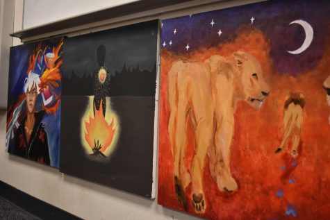 Paintings from a World Literature project line the front of literature teacher Jireh Tanabe's classroom.