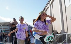Following Lin was senior Bianca Youngyouth, who was dressed in the special senior tie-dye shirt and a pool float.