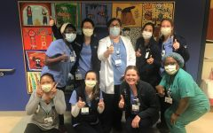 Nurses at Memorial Sloan Kettering Cancer Center pose for a photo to thank the numerous kids who have sent in a letter via the email forum.