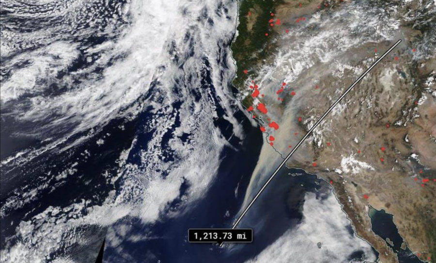 This image from NASA's terra satellite was able to capture the huge swath of smoke generated by the California wildfires.
