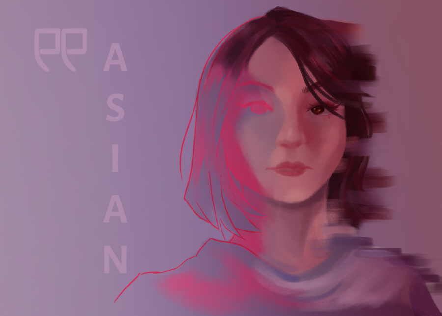 An+Asian+woman+phasing+into+a+sketch+of+herself%2C+representing+a+loss+of+identity.+Illustration+%7C+Sophia+Ma