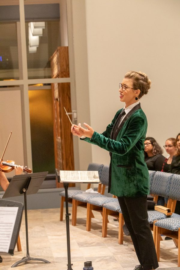 Choir teacher and Music Department Lead Amy Young at her Graduate Conducting Recital, which she gave in October 2019 as part of her Masters Degree in Choral Conducting from SJSU.