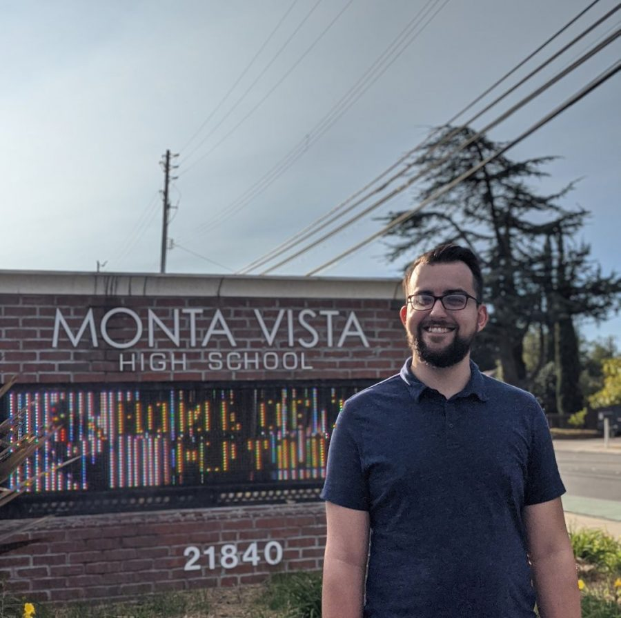 Director of Marching Band John Gilchrist stands in front of Monta Vista, beaming  //  Used with Perrmisson