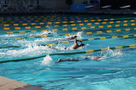 Each student-athlete had their own lane line during practice to maintain social distancing.