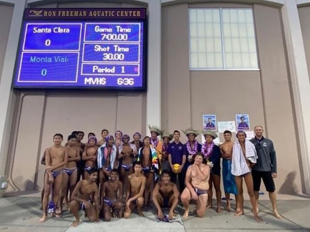 The boys water polo team celebrates its senior night in the 2019 season.