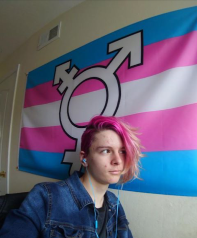 Sophomore Brooke Frei sits in front of her trans pride flag.