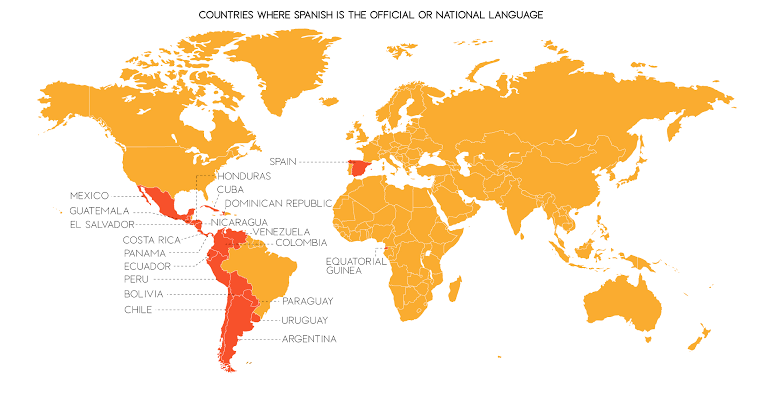 This map indicate Spanish-speaking regions of the world, where Spanish is the official language. Graphic credit | Map Handbook