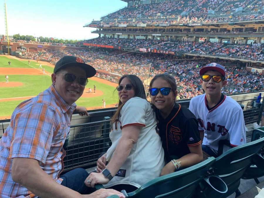 Senior Connor Nieh attends a Giants game with his family