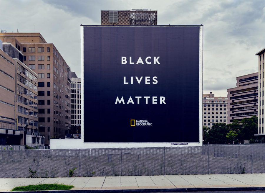 A Black Lives Matter poster by National Geographic stands in Washington D.C.